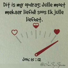 "Teks - Joh ""Dit is my opdrag: Julle moet mekaar lief he soos ek julle lief het"" Favorite Quotes, Best Quotes, Lekker Dag, Afrikaanse Quotes, Qoutes About Love, Biblical Inspiration, Bible Truth, Faith In Love, Prayer Board"