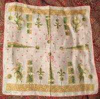 Vintage Tammis Keefe Topiary Handkerchief Cotton