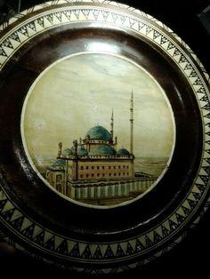 Деревянное блюдо, роспись, подписано Мимо, производство: Катар, 30 см, 1936-1960 гг.