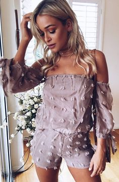Trending Spring Outfits To Try Now Blush Dresses, Spring Dresses, Spring Outfits, Off The Shoulder Playsuit, Black Floral Maxi Dress, Black Bodycon Dress, White Skinny Pants, White Playsuit, Woman Clothing