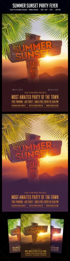 Summer Sunset #Party #Flyer - Clubs & Parties #Events Download here:  https://graphicriver.net/item/summer-sunset-party-flyer/19485682?ref=alena994