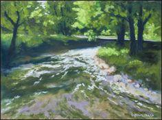 Creek at Saint Denis golf course, soft pastel on sanded paper, 23 x 30 cm