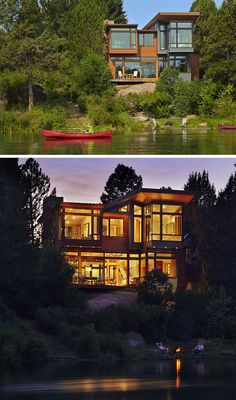 20 Awesome Examples Of Pacific Northwest Architecture // The large windows on this house appear rise up out of the trees and the rocks on the edge of a river in Oregon.