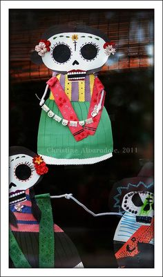 """Dia de los Muertos"" decorations we created for our front door (instead of Halloween ones). We made these after watching  R. Ostáriz' ""Viva Calaca"". Image © Christine Alvarado, 2011."