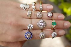 A variety of Vintage Engagement rings from Victor Barbone Jewelry featuring Old European Cut, Old Mine Cut, and Rose cut diamonds!