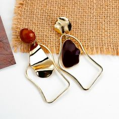 Geometric Statement Drop Earrings – klozetstyle.com Golden Earrings, Bow Earrings, Fashion Earrings, Statement Earrings, Fashion Jewelry, Mothers Friend, Handmade Hair Accessories, New Handbags, Aliexpress