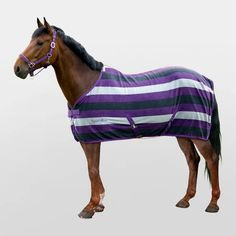 Equi Theme Stripe Polar Fleece Rug   Equestrian Clearance