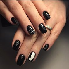 Black and white nail designs, Black and white nail ideas, Black and white short nail art, Everyday nails, Fashion nails 2017, Glossy nails, Hardware nails, Manicure for young girls