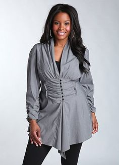 Ruched Panel woven shirt $39.00