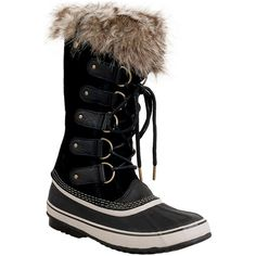 Sorel Women's Joan of Arctic Winter Boot (£145) ❤ liked on Polyvore featuring shoes, boots, black, tall lace up boots, sorel boots, waterproof winter boots, black lace up boots and tall black boots