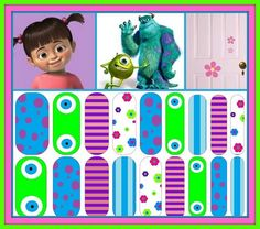 Monsters, Inc inspired nail wraps. Design your own in the Jamberry Nail Art Studio: http://www.kimd.jamberrynails.net/nas/