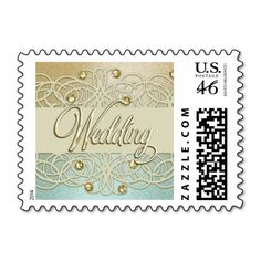 Gold Wedding Gold Crystal Lace Pearl Postage Mint