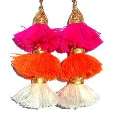 22K Gold Lolita Tassel Earrings - Bright Flamingo / Tangerine / Ivory - Coco's Trading Post