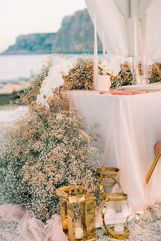 This whimsical vow renewal in Greece has completely stolen our hearts thanks to the hanging cloud of dyed baby's breath in papaya and coral hues over the table. Lilac Wedding, Fall Wedding Bouquets, Floral Wedding, Wedding Flowers, Dream Wedding, Gypsophila Wedding, Bridal Bouquets, Reception Decorations, Wedding Centerpieces