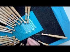 020 Encaje de Hinojosa - Cambio de Medio Punto con dos pares de zurcido a Punto de Cuadros - YouTube