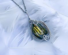 Emerald Wrapped Pendant  Wire wrapped Necklace  by KingsfieldInn
