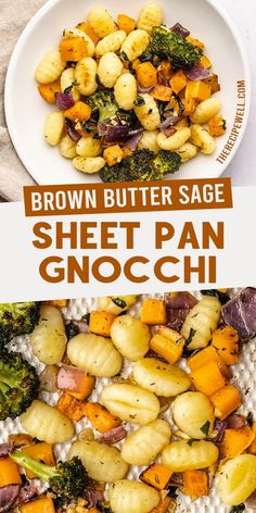 Perfectly roasted vegetables and gnocchi, covered in the most amazing brown butter sage sauce. This Sheet Pan Gnocchi is a quick and easy dinner with delicious fall flavour! Healty Dinner, Healthy Dinner Recipes, Fall Recipes, Quick Recipes, Healthy Food, Vegetarian Dinners, Vegetarian Recipes, Perfect Pasta Recipe, Food Dishes