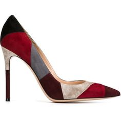 Gianvito Rossi Crosby Pumps ($711) ❤ liked on Polyvore featuring shoes, pumps, red, pointy-toe pumps, multi colored pumps, suede pointy toe pumps, red stilettos and pointed-toe pumps