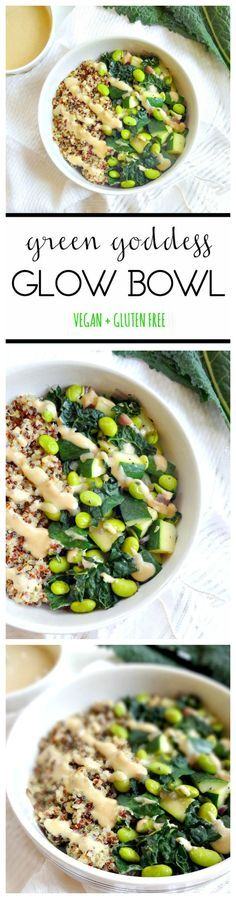 The \'Green Goddess Glow Bowl\' ▲▼ ready in 20 minutes! vegan + gluten free, a protein packed healthy recipe with a savory tahini lemon dressing. lean, clean and green! from The Glowing Fridge
