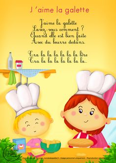 Paroles_J'aime la galette French Poems, French Worksheets, French Classroom, Petite Section, Teaching French, Kids Songs, Learn French, French Language, Kids Education