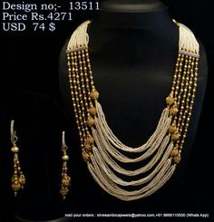 Shree Ambika Pearls and Jewelry Gold Jewellery Design, Bead Jewellery, Beaded Jewelry, Jewelery, Pearl Jewelry, Diy Jewelry Necklace, Antique Necklace, Beaded Necklace, India Jewelry