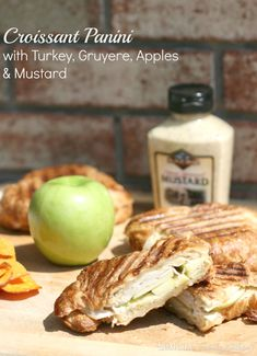 Croissant Panini with Turkey, Gruyere, Apples & Mustard. Easy 5 ingredient meal with tons of flavor and so quick to throw together! A delicious panini!!