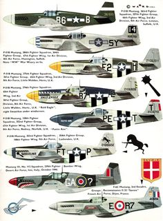 North American P-51 Mustang colour profiles.