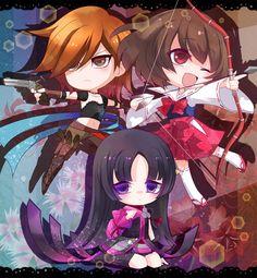 Tsuruhime, Oichi, Saika Magoichi, Sengoku Basara. Art by: 雪加 (Pixiv ID: 1944836).