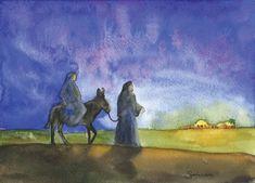 Bethlehem Christmas Card - Watercolor Christmas - Mary and Joseph - Christian Christmas Card