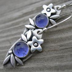 Sweet Iolite Sterling Silver Earrings PMC Artisan by westbyron, $56.00