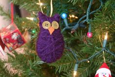 Simple Yarn and Button Owl Ornament