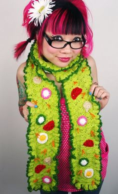 Not a fan of this salad(?) scarf, but she has lots of other cute patterns!
