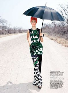 """Here is a Katie Fogarty in """"L'Afrique C'est Chic"""" photographed by Max Doyle and styled by fashion editor Naomi Smith for Vogue Australia December 2011."""