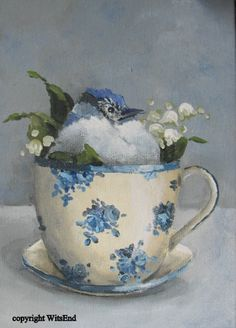 baby blue jay in antique tea cup, original painting, etsy.  SOLD