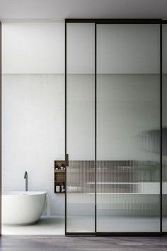 Sliding glass and steel door - Boffi studio Door Design, Sliding Doors Interior, Sliding Door Panels, Glass Bathroom, Bathroom Interior, Panel Doors, Reeded Glass, Glass Doors Interior, Sliding Door Design