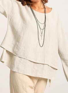 Solid Casual Cotton Linen Round Neckline Long Sleeve Blouses
