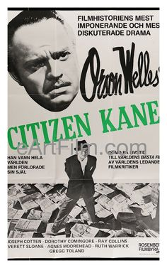"""Citizen Kane, Orson Welles classic 1941 newspaper journalism melodrama, somewhat about William Randolph Hearst, starring Orson Welles, and members of Welles' """"Mercury Stage Actors"""" Joseph Cotten, Doro"""