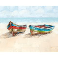 Add coastal style to any room with contemporary art by Streamline Art This canvas wall art features a coastal beach scene with boats painting and brackets for hanging Measures 32 L x 40 W Beach Watercolor, Watercolor Paintings, Art Paintings, Beach Paintings, Portrait Paintings, Painting Abstract, Acrylic Paintings, Watercolours, Sailboat Painting