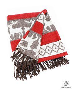 """Dekorative Jacquard Wohndecke """"Rudolph"""". Genießen Sie viele kuschelige Stunden mit der aus 100% Baumwolle gefertigte Decke. Blanket, Cushion Pads, Home Decor Accessories, Red, Xmas, Cotton, Colors, Homes, Blankets"""