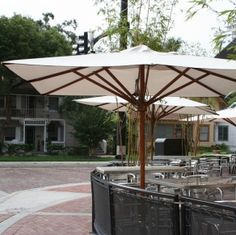$1200,  10' x 10' Greencorner Square Wood Market Umbrella