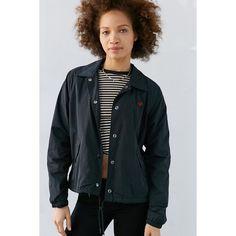 OBEY Sidelines Jacket ($64) ❤ liked on Polyvore featuring outerwear, jackets, black, collar jacket, embroidered jacket, wind breaker jacket, mini jacket and windbreaker jacket