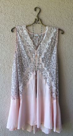 Image of Free People lace flowy pink inset dress