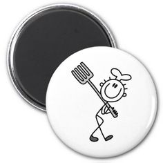 Stick Figure Chef with Fork Fridge Magnet
