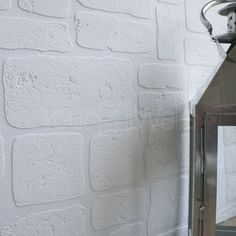 'Paintable White Stone' Brick wall Brick Effect Wallpaper Brick Wallpaper Room, White Brick Wallpaper, Brick Effect Wallpaper, Stone Wallpaper, Wallpaper Gallery, Wallpaper Ideas, Building A Brick Wall, Brick In The Wall, Brick And Wood