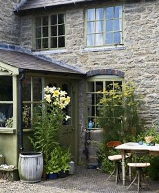 I grew up in an old, old stone house. Can I help it if I think stone houses are classic and beautiful? Cottage Living, Cozy Cottage, Cottage Homes, Cottage Style, Country Living, Cottage Porch, Farm Cottage, Country Kitchen, Farm House