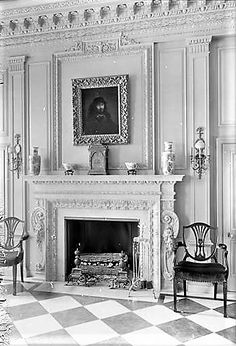 photo by Wurts Bros. from the collection of the Museum of the City of New York John Teele Pratt was born on Christmas Day, to C. Fireplace Tv Wall, Fireplace Ideas, Fireplace Design, Fireplace Mantels, Fireplaces, Classic Fireplace, Gypsum, Crown Molding, Baseboards