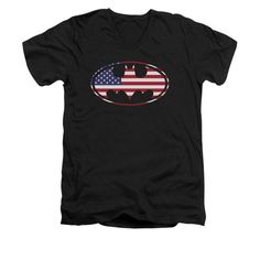 Batman - American Flag Oval Adult V-Neck T-Shirt