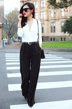 V-neck blouse with wide leg pants