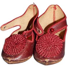 Antique French Burgundy Leather Doll Shoes with Large Rosettes from joycedolls on Ruby Lane