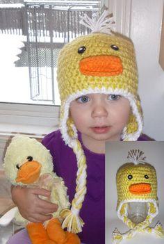 Dunky the Ducky Animal Hats, Crochet For Kids, Custom Design, Infant, Crochet Hats, Children, Handmade, Character, Animals